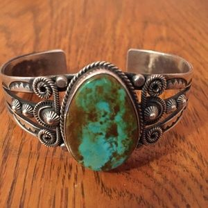Sterling Turquoise Native American Cuff